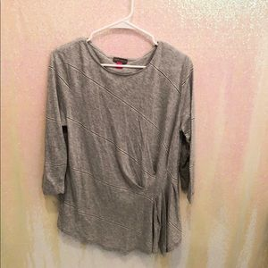 Vince Camuto gray striped long sleeve
